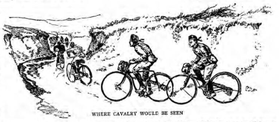 Cyclists were thought to be less conspicuous than cavalry (Source: The Graphic, March 31, 1888)